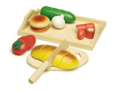 Houten eetset 29x20 voedsel snijset snijeten voor speelgoedkeuken
